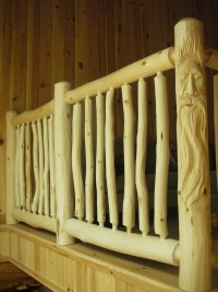 Railing With Wood Spirit Posts – Custom Order